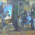 """Пешкин В.А. """"В мастерской художника"""". 1994. Х.,м. 95х140"""