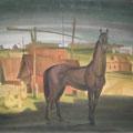 "Гуров А.Г. ""Пейзаж с чёрным конём"". 1980., б.,акв. 60х72"