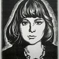 """Панин А.И. """"Марина Цветаева"""". 1997. Линогравюра."""