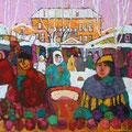 """Бахвалов С.М. """"Рынок"""". 2004. Картон, масло. 65х75"""