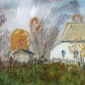 """Антонов В.М. """"Родительский дом"""". 2006 г. Бум., акварель, 42х59"""