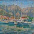 """Бритова Н.К. """"Яхты в порту"""", 2009. х.м. 50х60"""