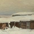 """Кочешков М.А. """"Сараи под снегом"""" 2011 Б.темп 46,5х73,5"""