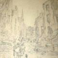 """Серов В.В.""""Город Варшава"""". 1944. Б.кар., 30х22. МИХМ"""
