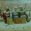 Лещёв.В.Л.Снежные бабы. 2003г. х.м. 50х60