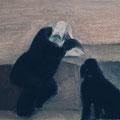 Дик П.Г. .Юкин с Тимкой 1983 пастель 36х46,5
