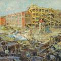 """Модоров Ф.А. """"Строительство завода """"Автоприбор"""". 1927 г. ?х?, холст на картоне, масло."""