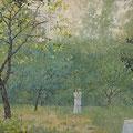 """Павлычев В.П. """"Свидание в саду."""" к.м., 33х46, 2008г."""