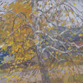 "Бурмистрова А,А. ""Листья падают"". 2012 Холст на картоне, масло 25,5*37,5"