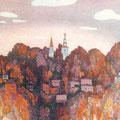 """Рузин В.И. """"Осень на Соборной горе"""". 1991. Цв. офорт. 40х50"""