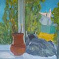 """Кувина Е.В. """"Кошка на окошке"""". 2010г. х-м. 50-60."""