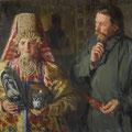 """Куликов И.С.""""С праздником"""". 1911. Х.,м. 80,5х116. МИХМ"""