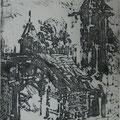 """Мымрина Е.В. """"Заброшенный двор"""". 2012 г.  Резерваж.  20,5х16,5"""