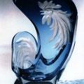 """Курилов А.С. """"Год петуха"""".  2005 цветной хрусталь, алмазная грань, гравировка."""