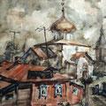 """Улитин В.Е. """"Гергиевский собор в Юрьев-Польском"""". 1984 акв. 41х55"""