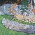 """Мокров Н.А.""""Этюд с лодкой"""". 1969. К.м. 45х63"""