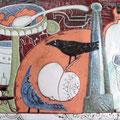 """Михейкина И.П. """"Натюрморт с птицей"""". 2008, 22,5х30,5, медь, эмаль."""