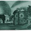 """Волков С.В."""" Дом с круглой крышей"""". 2009. Офорт, акватинта."""