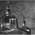 """Волков С.В.""""Вечер у никольской церкви"""". 2007. Офорт, акватинта."""