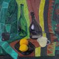 "Баранчук Н.Е. ""Натюрморт с бутылками"". 2011.Картон,масло. 58Х46,5"