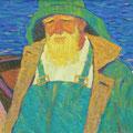 """Модоров Н.Н."""" Азовский рыбак"""".1962 г. 51,5 х72,5, картон на холсте, масло."""
