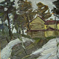 """ирнов.А.М. """"Последний снег."""" к.м. 35х48 1982"""