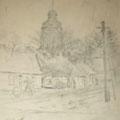 """Серов В.В.""""Германия. г. Цехан"""".1945. Б.,кар.  30х22.МИХМ"""
