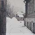 """Белан М.В. """"Следы на снегу"""". (бум., тушь, 38,5х28,5. 2008г.)"""