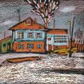 """Рузин В.И. """"Домик зимой"""". 2002. Картон, пастель. 10х12"""