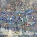 Зимние сумерки.1994г.,бум.,акв.,гуашь 42х51