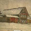 """Серов В.В.""""Самый старый дом в  с. Панфилово"""".1941. Х.,м. 40х49,5. МИХМ"""