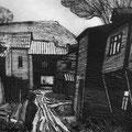 """Щегольков М.И. """"Прогулка под дождем"""". 2006. гравюра на картоне."""