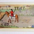 Interprétation du Calendrier d'octobre des Très riches Heures du Duc de Berry, 15X10cm, parchemin, pigments historiques, Or-et-Caracteres octobre 2020