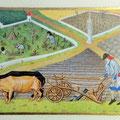 Interprétation du Calendrier de mars des Très riches Heures du Duc de Berry, 15X10cm, parchemin, pigments historiques, Or-et-Caracteres mars 2021