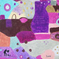 (作品 拡大画像)  「Love 」根底にある愛ということで、絵の下に文字を配置しました。  「ハートを持つ人、ハートを集める人」 自分の愛を無償に与える人。または、外側に愛を求めて集めようとしてしまう人。