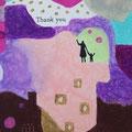 (作品 拡大画像)  「Thank you」 手をつなぎ、手をふる人 自分達(手をつなぐという行為)と、周囲に対して(手をふるという行為)、ありがとうと表現している人。