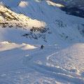Die Abfahrt vom Gipfel weg im feinsten Pulver, Welli konnte es kaum glauben