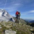 Bergtol, rechts von uns die Schaubachhütte, links dagegen der Ortler mit dem Hintergrat Zustieg