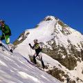 Gipfelhang von der Königsspitze andauernd im Blick-  Tini immer voraus