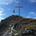 Freudensprung am letzten Gipfel, dem Pleißkopf