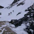 Die erste und einzige Rampe zum Ziel, heuer in einem guten Zustand, sodass alles mit den Skiern problemlos begangen werden kann