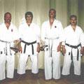 Von links: Shihan Norbert Haas, Shihan Pepe Costa (Cheftrainer ganz Ibiza und Formentera), Shihan Didi Haas senior, Sensei Toni Costa La Perm (Dojoleiter St. Eulalia)