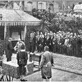 Grundsteinlegung für die Kirche am 5. Mai an ihrem heutigen Platz in Anwesenheit von Kaiser Franz Josef I., 1906