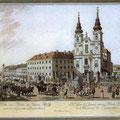 Die Mariahilfer Kirche Ende 18. Jahrhundert mit Stiftskirche und St. Josef ob der Laimgrube