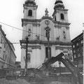 U-Bahn-Baustelle vor der Kirche, 1986