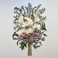 Ramo de novia con peonías, hortensias y calas. 60x50cm.