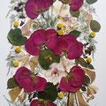 Ramo con caída, de rosas coral, alstroemerías, esparraguera. 80x40cm.