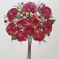 Bouquet rosas fucsias. 50x50cm.
