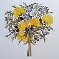 Ramo de novia de rosas amarillas, lirios y solidago. 60x50cm.