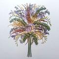 Ramo de novia de fresías moradas, eucalipto y astilbe. 70x60cm.
